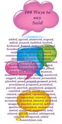 Dialogue Tags: 100 ways to say said. Writing Tips, Writing Prompts, Ways To Say Said, Writing Inspiration, Beautiful Words, Grammar, Jokes, Tags, Sayings