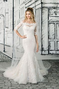 Justin Alexander - Style 8903: Off the Shoulder Lace Gown with Elbow Illusion Lace Sleeves