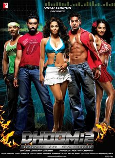 Dhoom 2 (Hrithik Roshan, Aishwarya Rai, Abhishek Bachchan, Bipasha Basu, Uday Chopra) currently-popular-on-mela Hindi Bollywood Movies, Bollywood Cinema, Tamil Movies, Bollywood Party, Bollywood Fashion, Hindi Movie Song, Movie Songs, Bollywood Stars, Dhoom 2
