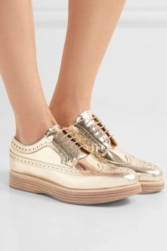 Church's - Opal Mirrored-leather Brogues - Gold - IT Puma Platform, Platform Sneakers, Top Designer Brands, Designer Shoes, Metallic Shoes, Leather Brogues, Leather And Lace, Victoria Beckham, Fashion Online