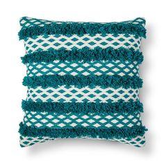 Threshold, Turquoise Tufted Global Stripe Throw Pillow , Tortugas Aqua