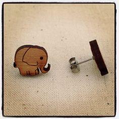 Elephant stud earrings - eco friendly wood earring studs by onehappyleaf on etsy