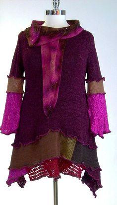 Plus Size Tunic Plum Brown and Fuchsia Size by Brendaabdullah, $189.00