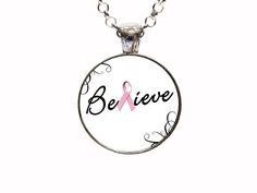 Believe Pink Pendant Necklace
