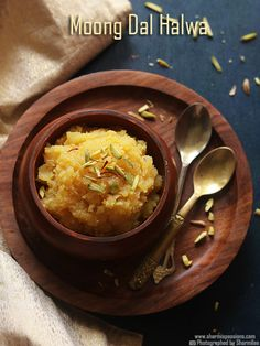 Moong dal halwa recipe, How to make moong dal halwa recipe - Sharmis Passions Veg Recipes, Almond Recipes, Sweet Recipes, Vegetarian Recipes, Cooking Recipes, Healthy Recipes, Indian Dessert Recipes, Indian Sweets, Ethnic Recipes