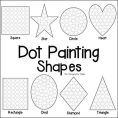Shapes Dot Painting {Free Printable},These shapes dot painting worksheets offer kids a fun hands on way to learn their shapes while working on fine motor skills and hand-eye coordination. Shapes Worksheets, Tracing Worksheets, Kindergarten Worksheets, Printable Worksheets, In Kindergarten, Preschool Activities, Preschool Shapes, Teaching Shapes, Preschool Class