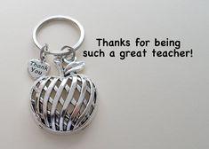 Apple Charm Teacher Keychain - Thanks for Being Such a Great Teacher – JewelryEveryday