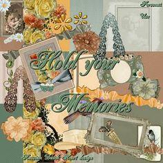 With a Russian/Dutch heart: Hold your memories. Colección de papeles y elementos en color verde y marrón.