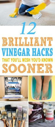 These are the BEST vinegar hacks I've ever seen. These uses of vinegar will make my life a lot easier. Pinning for sure!!