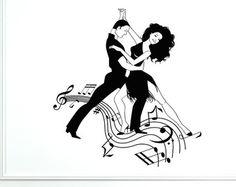 Mur vinyle sticker danse 2028di homme et femme Notes musique Decor