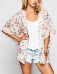 LOTTIE & HOLLY Floral Print Womens Kimono 233701575 | Kimonos | Tillys.com