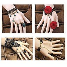 Amazon.com: Red Ape Gothic Lolita Bracelet Bridal Wedding Venetian Retro Lace Bracelet With Ring Slave Gemstone Cosplay Wedding Wristband Masquerade Dress Flower Rose - 3 Pcs