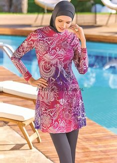 Full Cover 4076 Burkini Swimsuit is one of the most stylish set of 2019 spring - summer collection Full Cover 4076 Burkini Swimsuit details, Islamic Swimwear, Muslim Swimwear, Swimming Gear, Swimming Costume, Modest Fashion, Hijab Fashion, Fasion, Bonnet Cap, Red Swimsuit