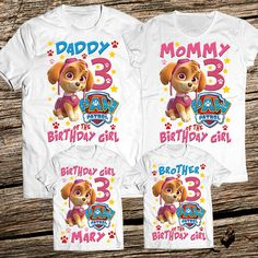 Paw Patrol Family Birthday Shirt Personalized Girl Party