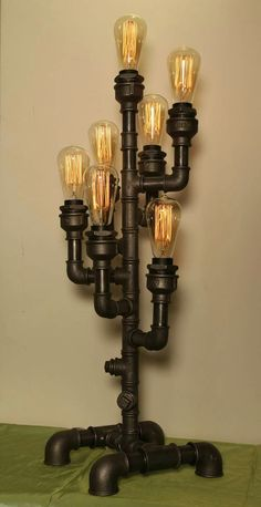 - Best ideas for decoration and makeup - Steampunk Lighting, Steampunk Light Fixtures, Lamp, Diy Lamp, Light, Light Fixtures, Lights, Industrial Lamp, Steampunk Lamp