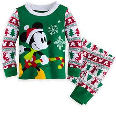 Mickey Mouse Holiday Pajamas Set For Baby  He'll Be Having Sweet Candy Cane Dreams While Snuggled Up In These 100% Cotton Mickey Mouse Pajamas Set For Baby. These Soft Cotton Pajamas Feature Iconic Mickey Mouse Ears And Silhouettes Of Mickey Mo...