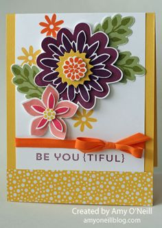 Strawberry Slush, Rich Razzleberry, Pumpkin Pie, and Daffodil Delight ink for the flowers.  The leaves use Pear Pizzazz and Old Olive. Blackberry Bliss and Crisp Cantaloupe.  I used some of the new Pumpkin Pie 1/4″ Cotton Ribbon on both of these cards