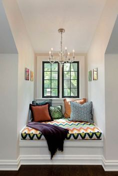 """So there's a chandelier in your book nook?  Hey, why not?  More (sparkly) light to read by! <What type of lighting would you use in your nook?>  Want more Nook goodness? Follow us @The-Daily-Book-Nook  """"Fill your mind with lovely things"""" <three rivers deep>"""