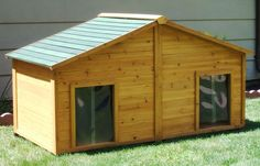 Awesome Insulated Cedar Duplex Dog House (extra large) when you need a home for 2 pets. #duplexdoghouses
