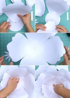 Paper roses have a uniquely creative look and they do not die! This giant paper flowers DIY includes a free template and step-by-step tutorial. Large Paper Flowers, Giant Paper Flowers, Diy Flowers, Fabric Flowers, Large Paper Flower Template, Paper Wall Flowers Diy, Paper Flowers How To Make, Flower Petal Template, Paper Flowers Wedding