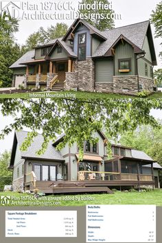 Architectural Designs Rugged Craftsman House Plan 18716CK modified with the addition of an attached garage to the original design. The home gives you 3 beds, 2.5 baths and over 2,300 square feet of heated living space. Ready when you are. Where do YOU want to build?