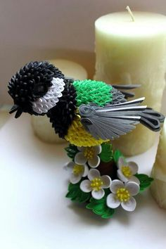 Quilled Bird on Flowers-decorations on a candle ~ Katarzina Kalinowska.