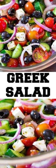 This Greek Salad is packed with fresh flavors and is ready in just 10 minutes! A few simple ingredients are combined together to make a salad perfect for summer. by jerri This Greek Salad is packed with fresh flavors and is ready in just 10 minutes! Healthy Salad Recipes, Vegetarian Recipes, Cooking Recipes, Side Dish Recipes, Dinner Recipes, Easy Recipes, Traditional Greek Salad, Clean Eating, Healthy Eating