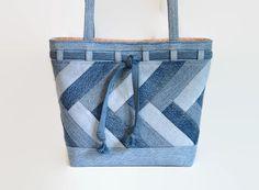 Large Denim Blue Jean Tote Bag Denim Patchwork Shoulder Bag