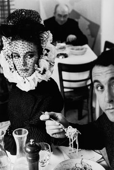 Deborah Dixon in Trattoria with writer Antero Piletti, 1962, Rome