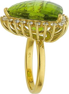~ Bling ~ 18K Gold Ring with Peridot and Diamonds