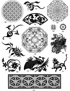 oriental designs- floral & animal, goldfish, peacock & geometric  *from Oriental Designs CD-ROM and Book by dover