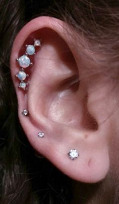 Cute Simple Ear Piercing Ideas 5 Opal Cartilage Earring Stud - Triple Lobe Crystal Jewelry - www.MyBodiArt.com