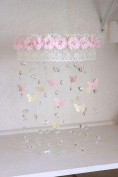 Crystal Mobile with Lace Trim and flowers with por TheMobileMaven