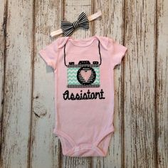 Pink and Aqua Baby Girl and Girl Camera Assistant Onesie or Tshirt - Baby Girl, Pregnancy Announcement, Photos by Polkadotologie on Etsy