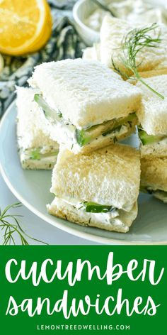 Cucumber Sandwiches are the perfect addition to your next tea party, bridal shower, or Mother's Day brunch. Made with just a handful of ingredients, they're simple, fresh, and so delicious! Tea Party Sandwiches, Cucumber Sandwiches, Recipes Appetizers And Snacks, Finger Food Appetizers, Vegetarian Recipes, Cooking Recipes, Healthy Recipes, Little Lunch, Cucumber Recipes