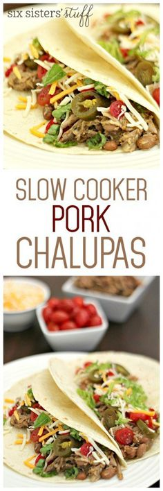 Slow Cooker Pork Chalupas on SixSistersStuff.com