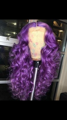 Wonderful Images purple wig Suggestions Real hair hairpieces supply the most natural search and feel. And even while they will would be the more expensive sele Bright Pink Hair, Pink Hair Dye, Purple Wig, Hair Color Purple, Dyed Hair, Affordable Wigs, Aesthetic Hair, Permanent Hair Color, Long Wigs