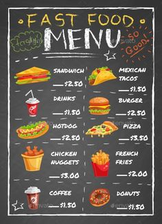 Fast Food #Restaurant #Menu On Chalkboard - #Food Objects Download here: https://graphicriver.net/item/fast-food-restaurant-menu-on-chalkboard/19519202?ref=alena994