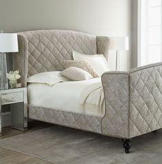 Upholstered Sleigh Bed For Stylish Bedroom: Victorian White Bedding Style In The Grey Bedroom ~ Ceridianindex.com