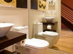 Half-Bath Hacks: Double your bathroom's visual space with a mirrored wall > http://www.diynetwork.com/bathroom/17-clever-ideas-for-small-baths/pictures/page-14.html?soc=pinterest