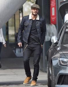 David Beckham in a Raw Denim Jacket