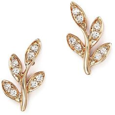 Diamond Leaf Stud Earrings in 14K Rose Gold, .10 ct. t.w. ($250) ❤ liked on Polyvore featuring jewelry, earrings, stud earrings, diamond jewelry, bloomingdales earrings, rose gold stud earrings and polka dot earrings