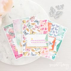 """From Susan @stampinsusanwong - The concept behind this set of cards was to showcase the Butterfly Bijou 6x6"""" DSP (no longer available). A simple layered card sketch courtesy of my friend Charlet @i.heart.stamps, and it all came together easily. I'd love to see how you change up this design with your favourite pretty papers! Created with sentiments from Rooted in Nature (148217) and Sweet Ice Cream (154456). Card Sketches, Stampin Up, Stamps, Artisan, Ice Cream, Friday, Butterfly, Fancy, Concept"""