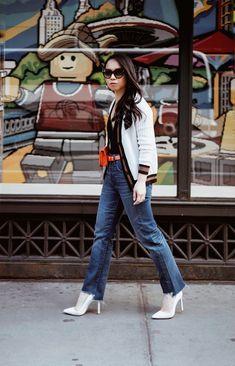 1598f60d0a27f4 Still Sweater Weather: PINKO Varsity Style Cardigan, Lace Trim Bodysuit,  Raw Hem Boyfriend Jeans, Orange Croc Belt Bag and White Manolo Blahnik 'BB'  Pumps