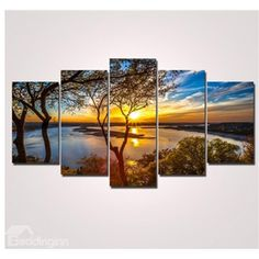 Sunrise and Lake 5-Piece Canvas Hung Non-framed Wall Prints
