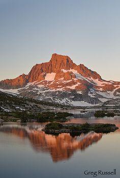 Banner Peak, as seen from Thousand Island Lake, Ansel Adams Wilderness, Sierra Nevada Mountains, California by Greg Russell