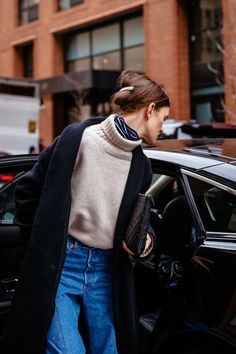 Layer a printed turtleneck under a turtleneck sweater for a chic detail (and extra warmth)