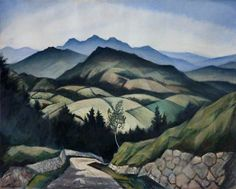 "Christopher Richard Wynne Nevinson (English): Oil Painting, ""A Mountain Landscape in Wales"" [Ulster Museum, Belfast] Mountain Landscape, Landscape Art, Landscape Paintings, Landscapes, Collage, Art Uk, Modern Artists, Living Room Art, Your Paintings"