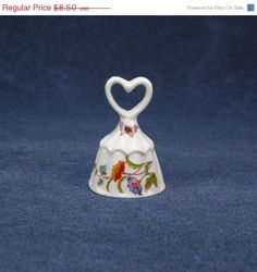 ON SALE Porcelain Bell With Heart by colemanvintage on Etsy, $7.23