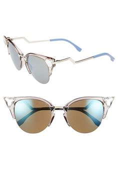 Fendi Crystal 52mm Tipped Cat Eye Sunglasses available at #Nordstrom